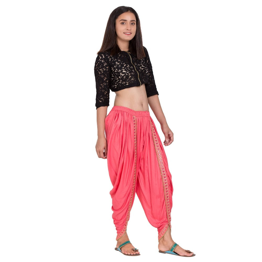 Asmaani Peach color Dhoti Patiala with Embellished Border