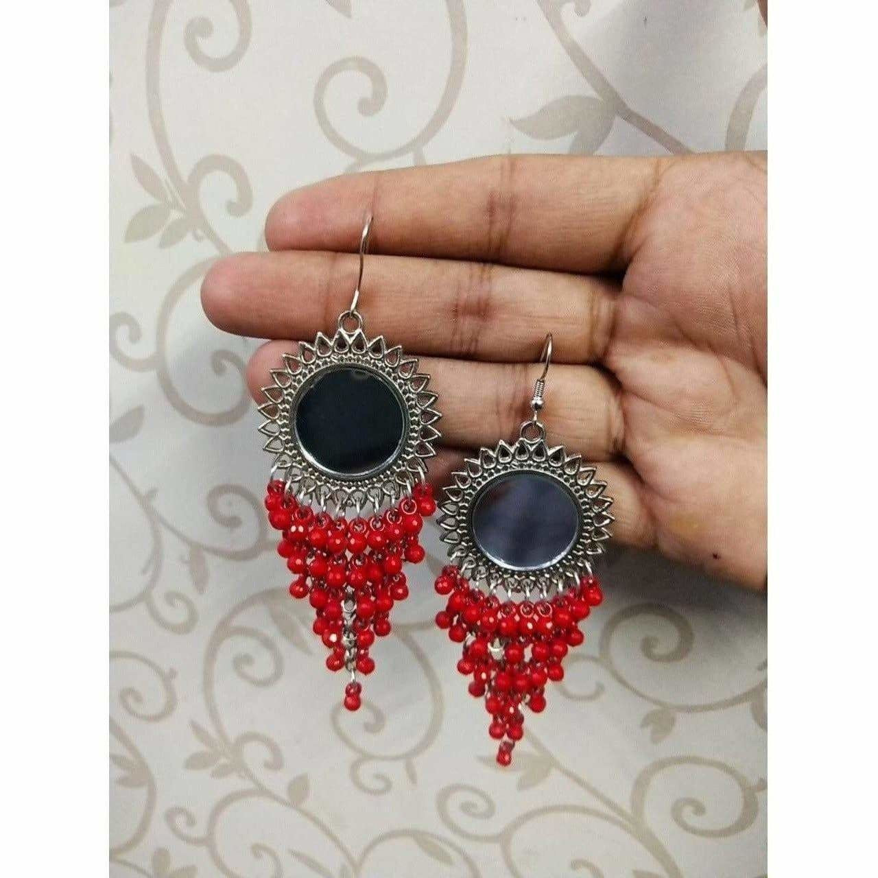 Red Color Jhalar Long Drop Party Beads Sun Design Earrings