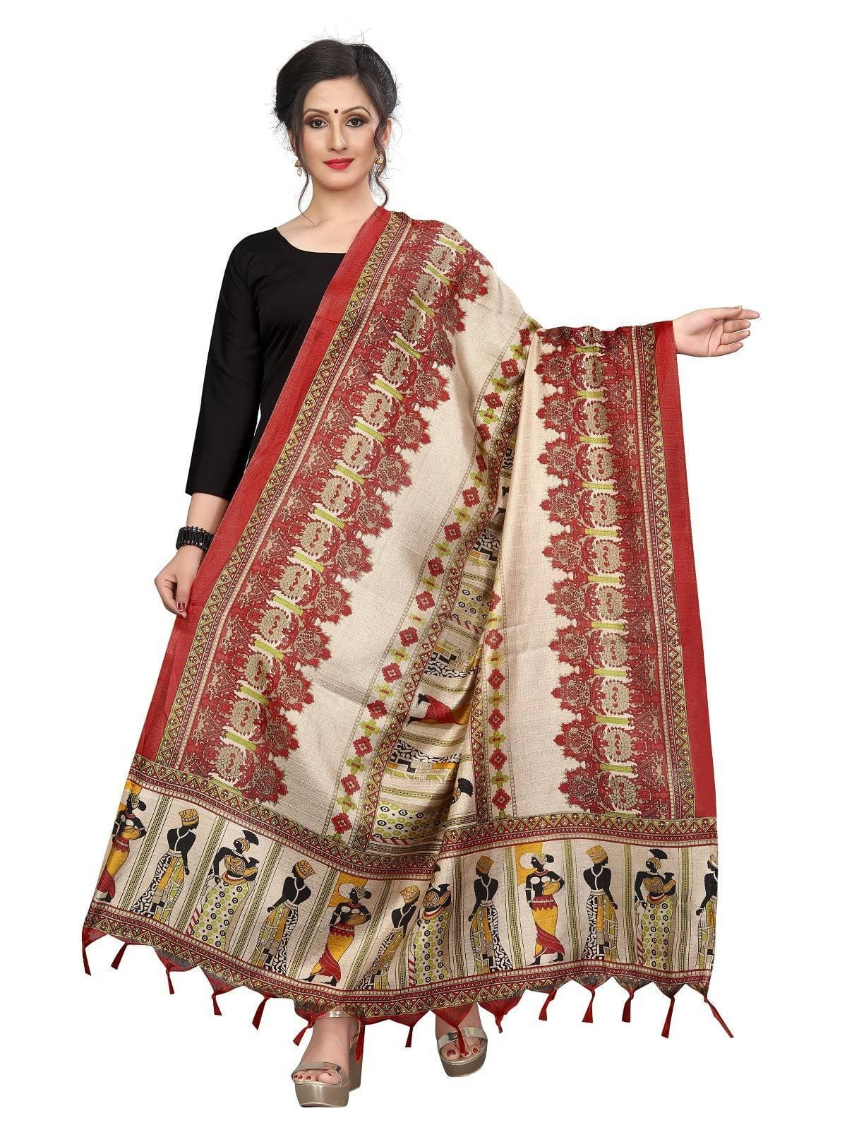 Vamika Red Latest Printed Khadi Bhagalpuri Dupatta