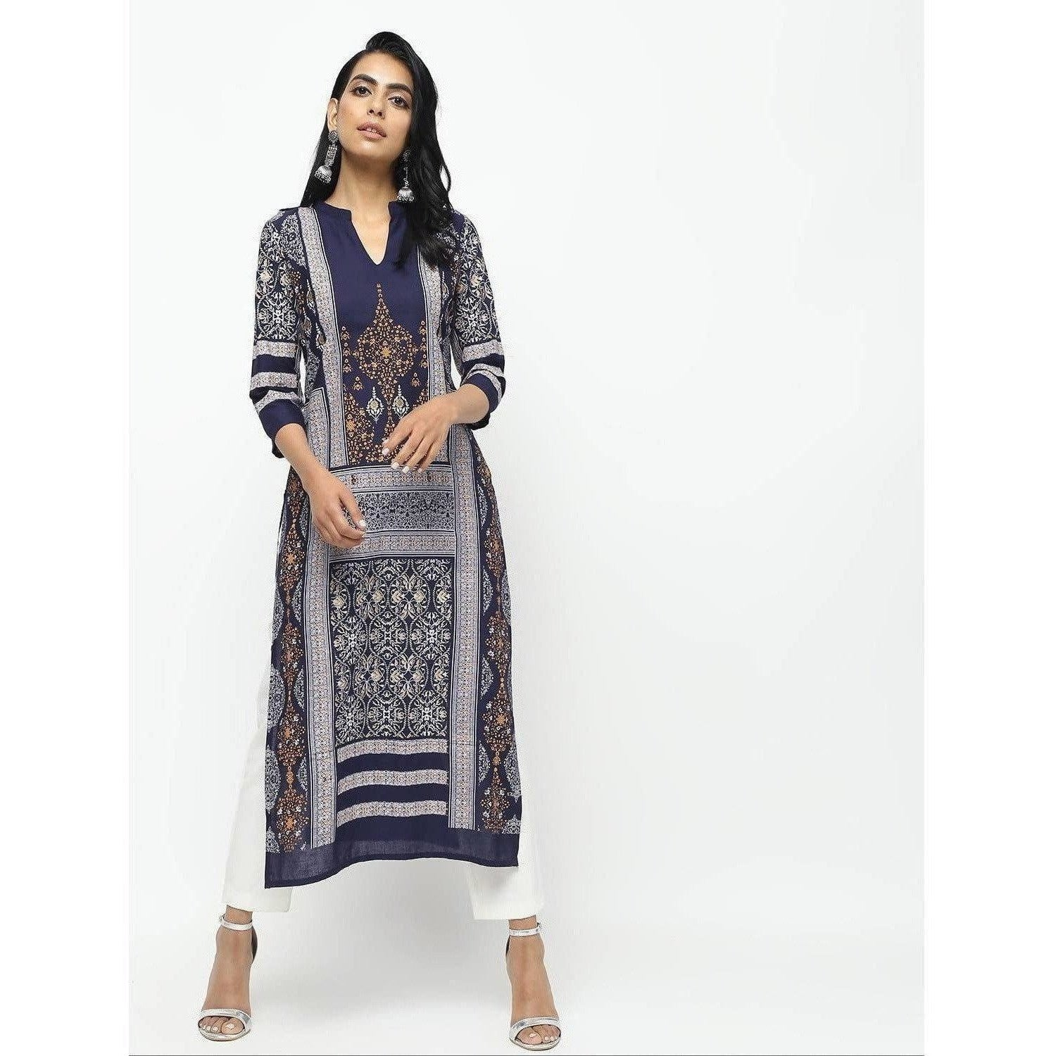 Cheera Navy Blue Straight Printed Kurta