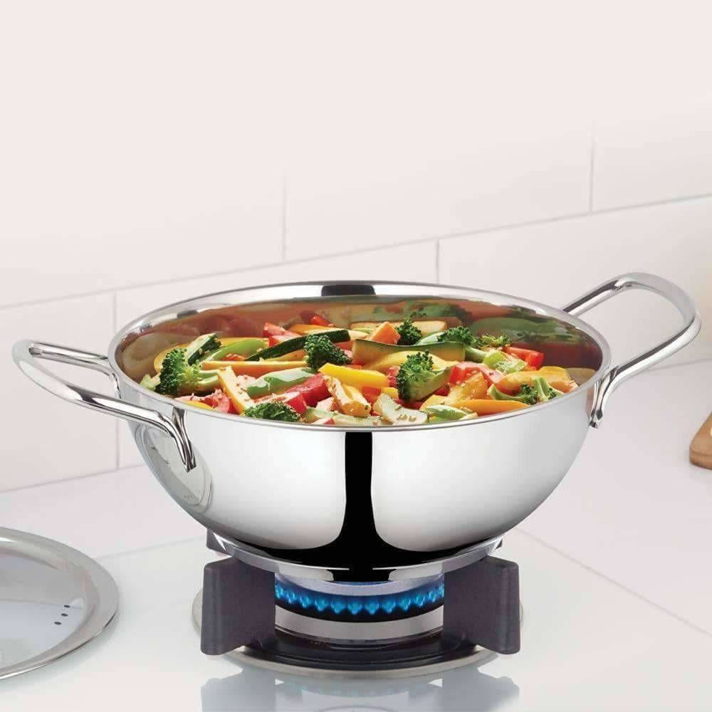 Borosil Stainless Steel Deep Kadhai With Lid, 2.3 Litre