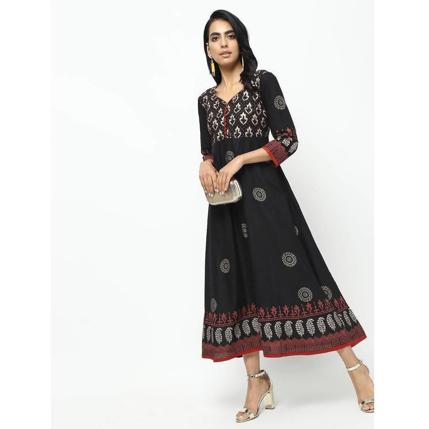 Cheera Front Contrast Butning And Beautiful Block Print Design Anarkali Kurta
