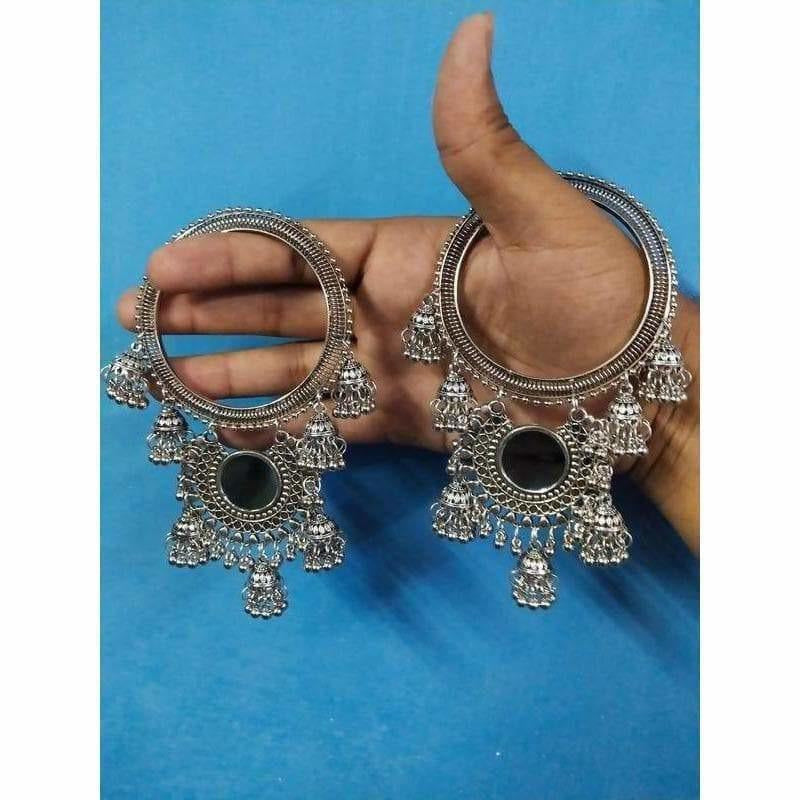Small Silver Jhumkas With Pearls Latkan Bangles