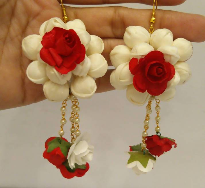 Red & White Floral Earrings