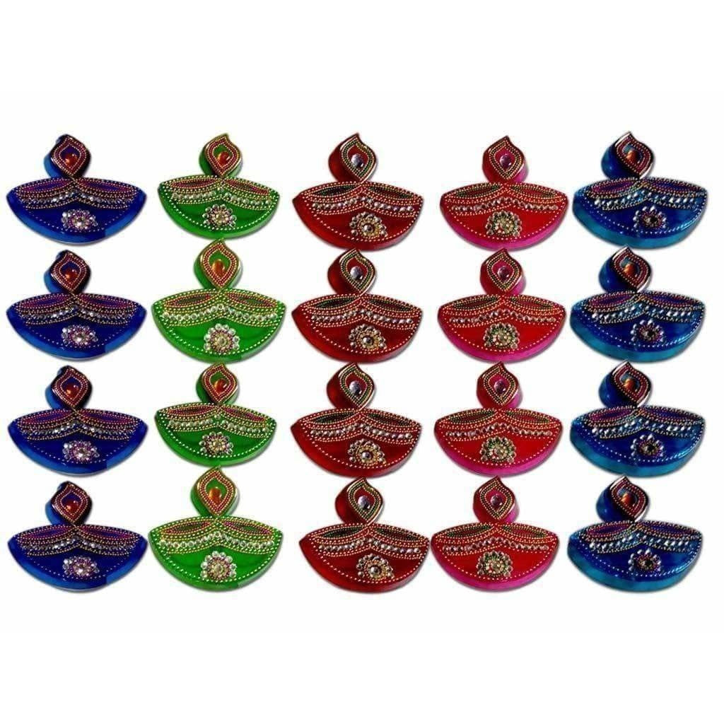 Colorful Lamp Design Kumkum Box - 1 Piece - Dista Cart