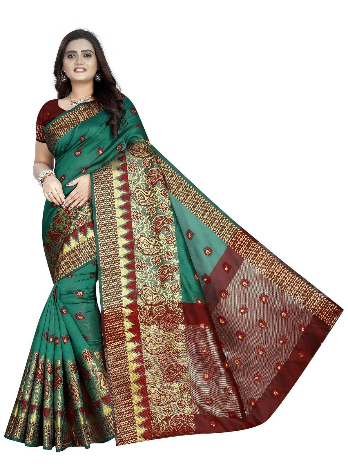 Vamika Banarasi Jaquard Rama Green & Red Weaving Saree