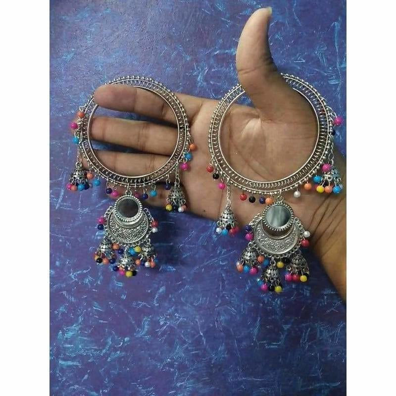 Beautiful Latkan Bangles With Jhumkas And Multicolor Pearls