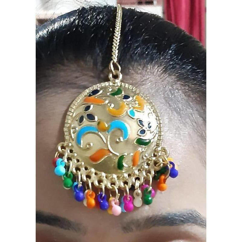 Multicolor Pearls And Design Gold Plated Maang Tikka