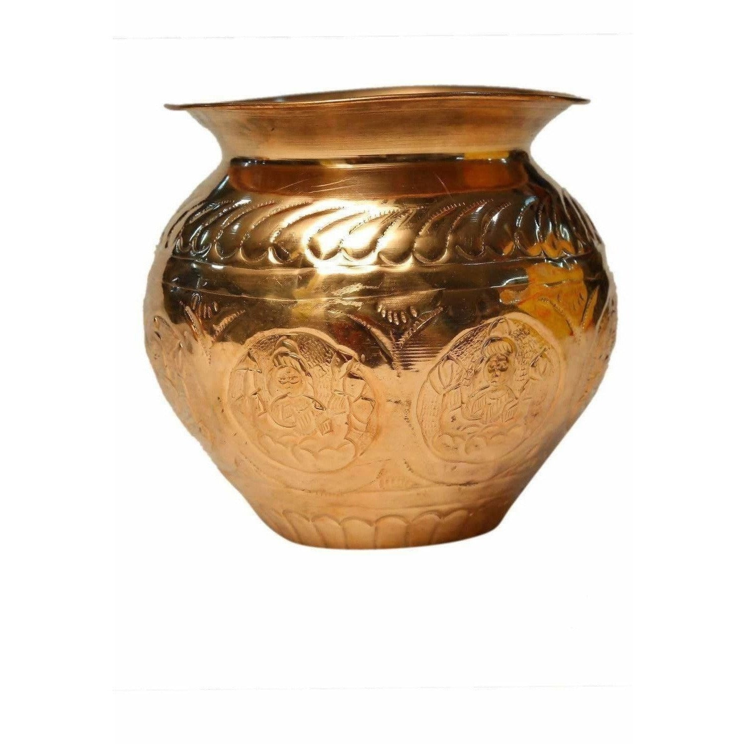 Pooja-8 Faces Globular Lakshmi Kalash (Medium size) / Ashtalakshmi Kalasam (Medium Size) - Dista Cart