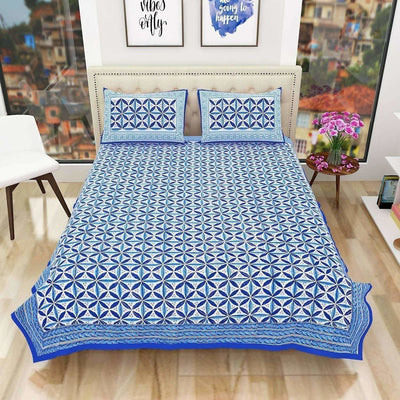 Premium Hand Printed Rajasthani Traditional Double/Queen Bedsheet with 2 Pillow Covers