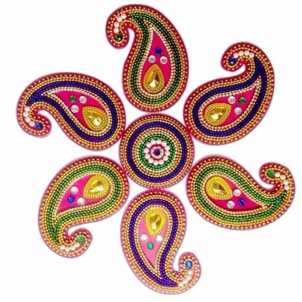 Colorful Rangoli design for floor decoration / Wall Decoration / Pooja Decoration - Distacart