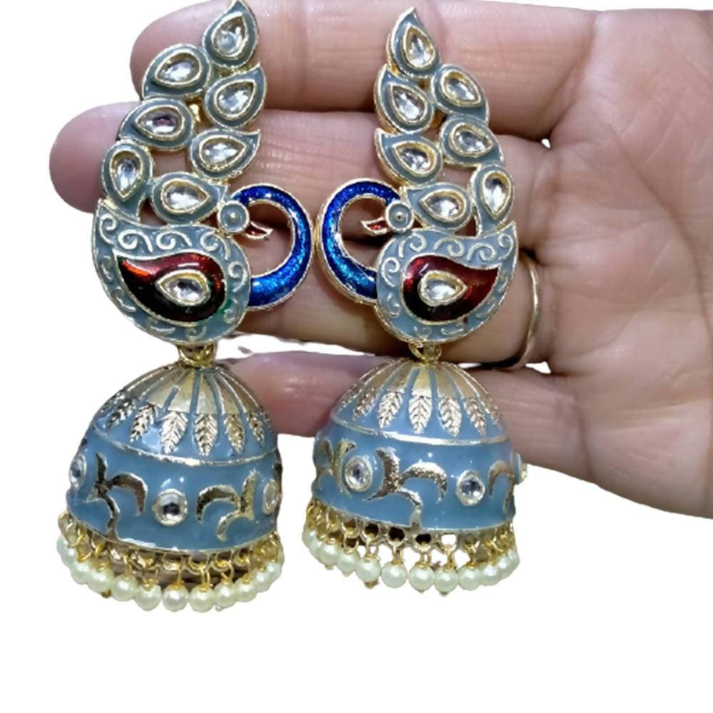 Megha Creations Peacock Jhumka Grey Colour Earrings - Distacart