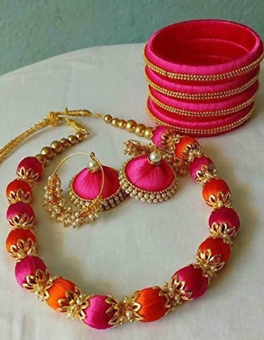 Pink with Orange Silk Threaded Necklace, Earrings And Bangles