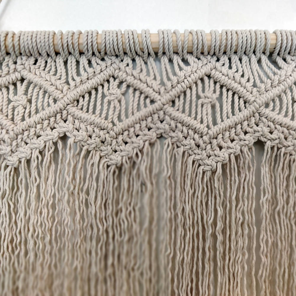The Decor Nook Off White Macrame Highly Twisted Fringe Wall Piece - Distacart