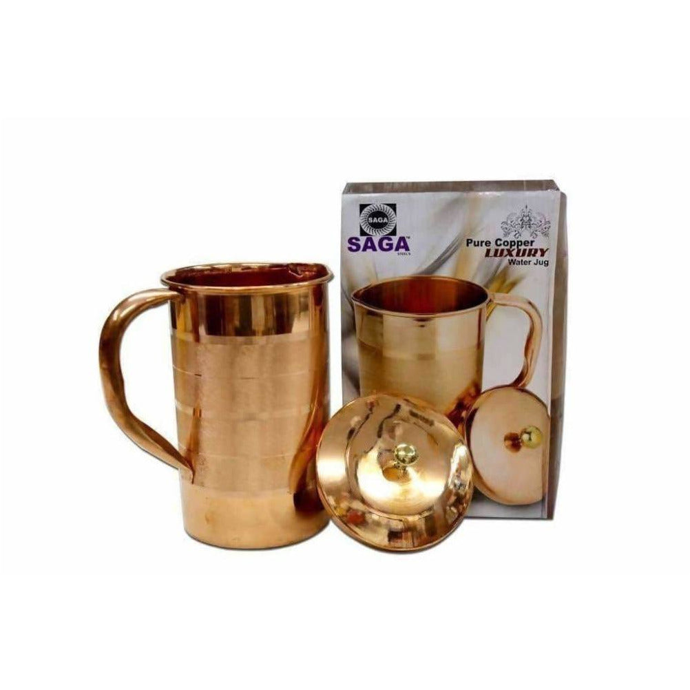 Pure Copper Water Jug With Handles And Lid - Distacart