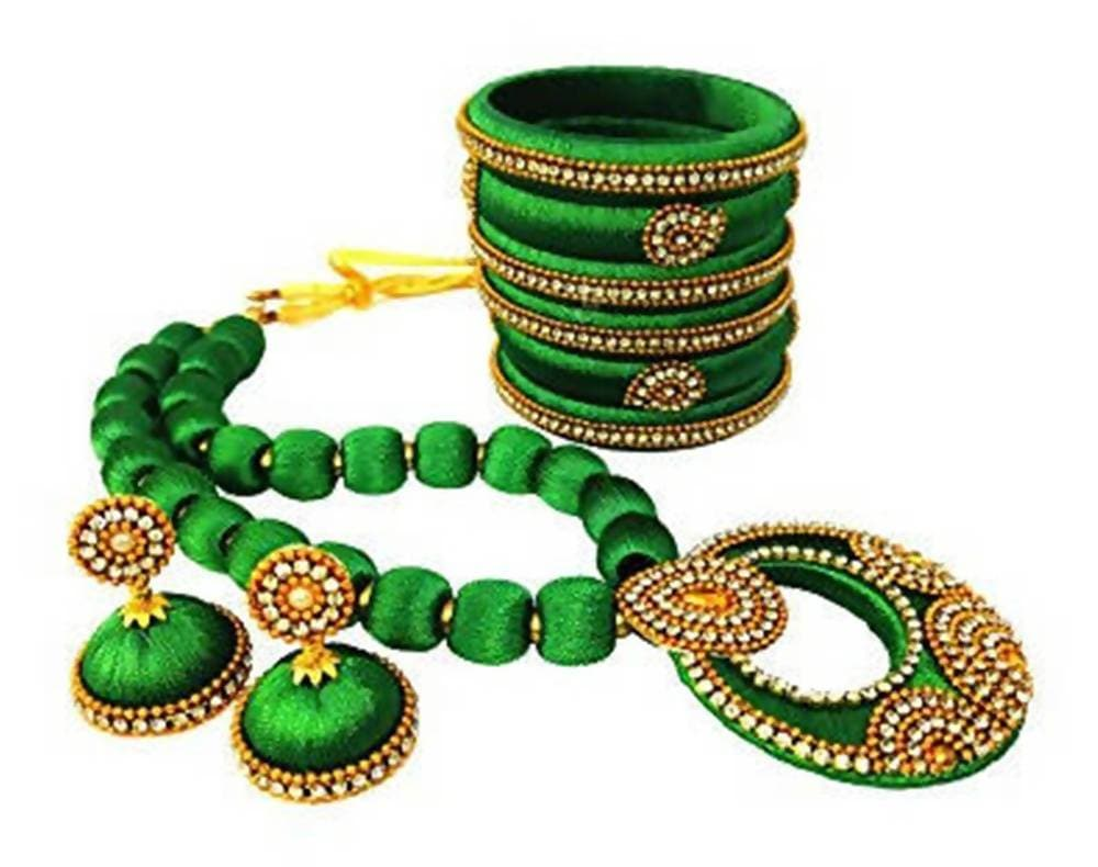 Green Color Silk Threaded Necklace Set, Earrings and Bangles Set of 2