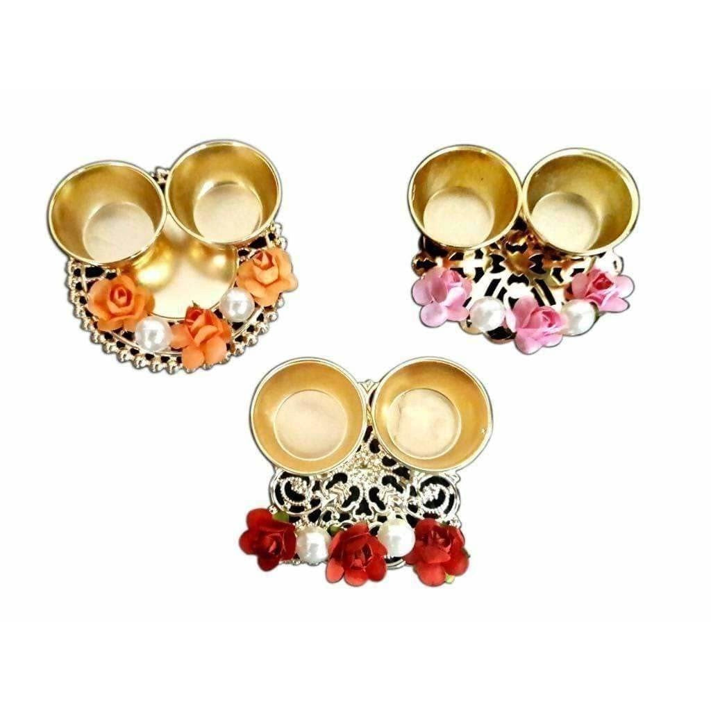 Fancy Haldi Kumkum Holder With Flowers and Pearls - 1 Piece