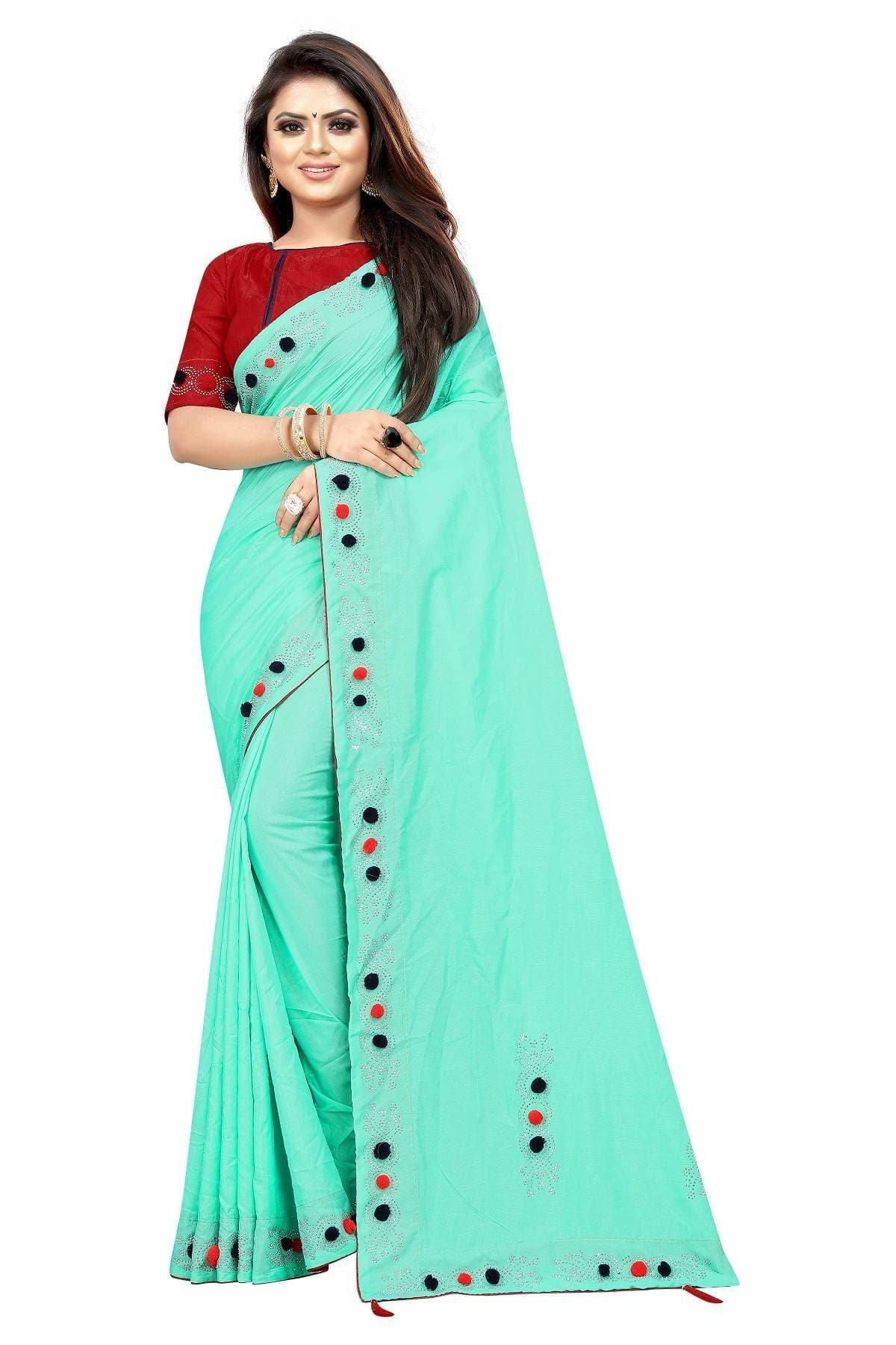 Vamika Rama Green Sana Silk Diamond And Pom Pom Saree