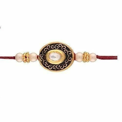 Gold Plated Pearl and Stone Studded Rakhi