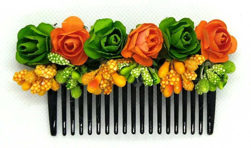 Green & Orange Flower Hair Comb