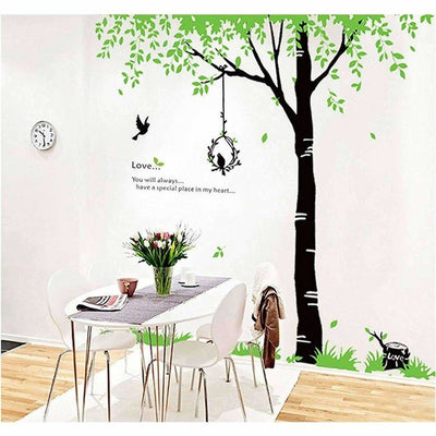 StylishWalls PVC Vinyl Self-Adhesive Calm Green Trees Nature Wall Stickers for Bedroom (Large, 220 x 200 cm)