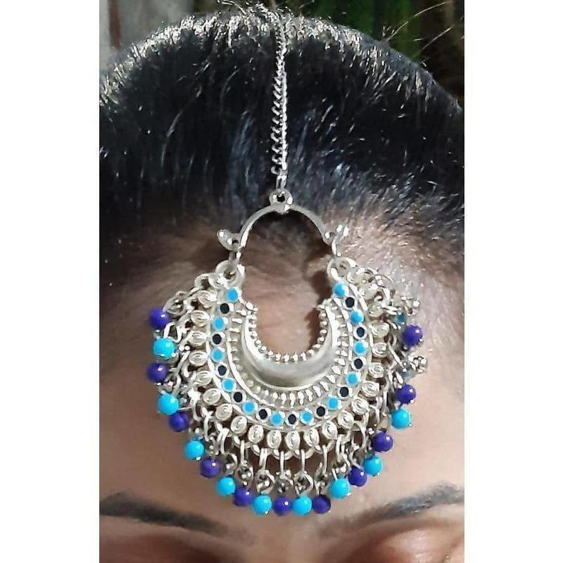 Royal Blue Color Drops Traditional Maang Tikka