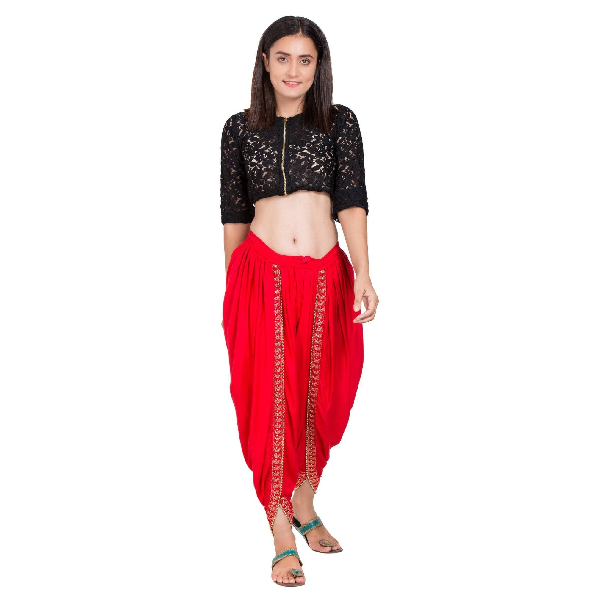 Asmaani Red color Dhoti Patiala with Embellished Border