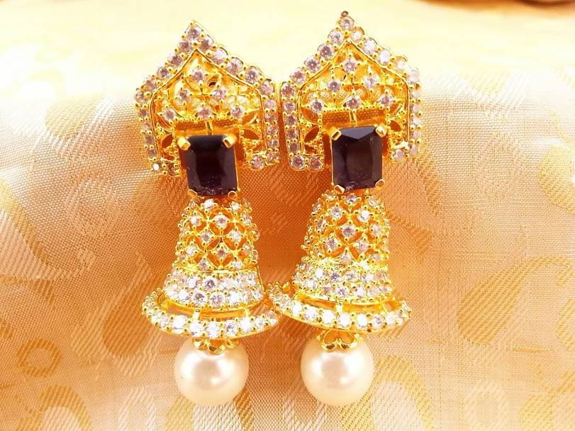 AD Bell Type Jhumkas with Blue Stone