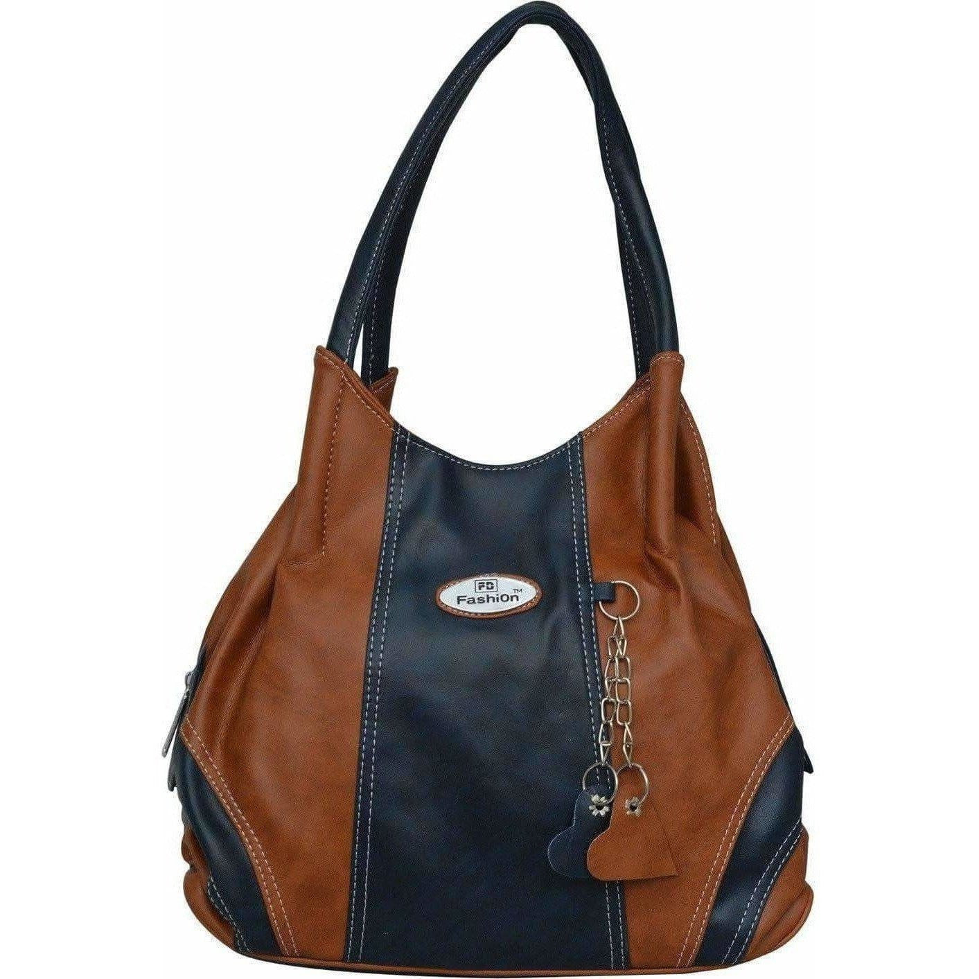 FD Fashion Shoulder Bag  (Tan, Blue)