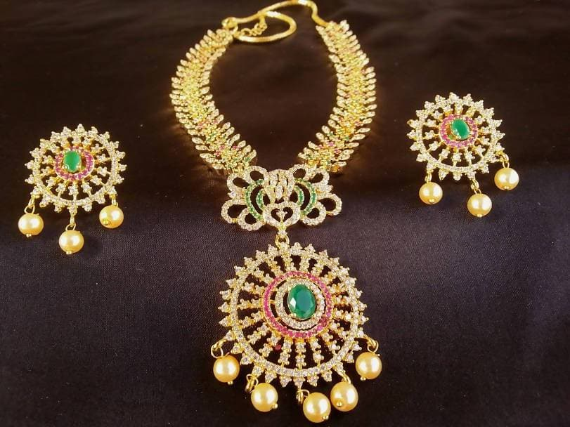 Multicolor Ad Bridal Necklace Set For Marriage Ceremony