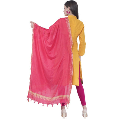 A R SILK Gajari Color Golden Border Dupattas and Chunnis