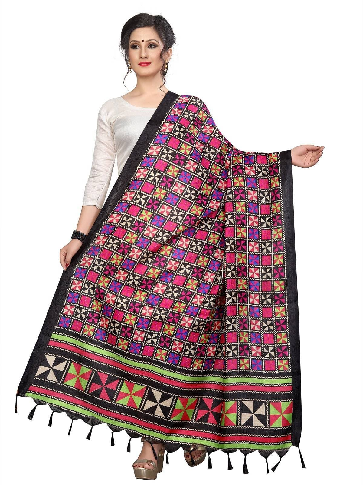 Vamika Black Printed Khadi Bhagalpuri Latest Traditional Dupatta