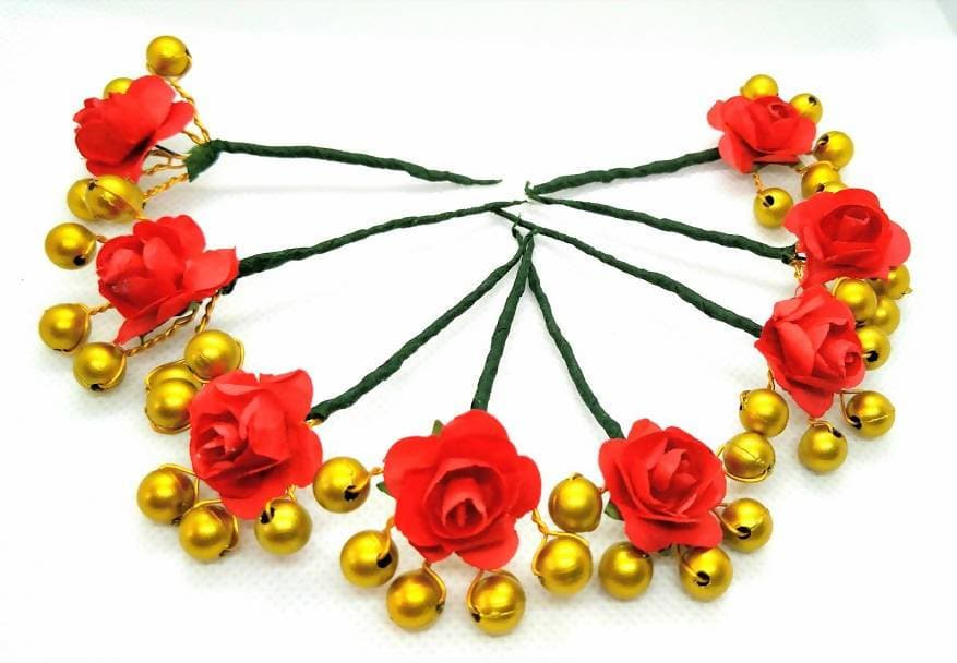 Red Rose Flower With Gold Beaded Hair Brooches (Set of 8 Brooches)