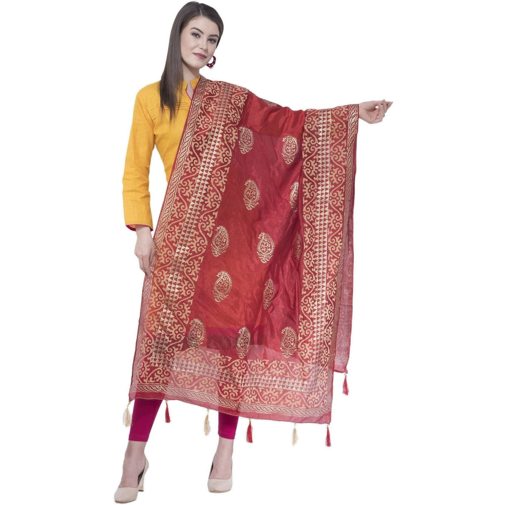A R Silk Women's Gold Print Silk Mehroon Dupattas and Chunnis