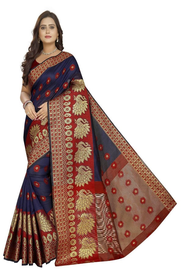 Vamika Banarasi Cotton Silk Navy Blue & Red Weaving Saree