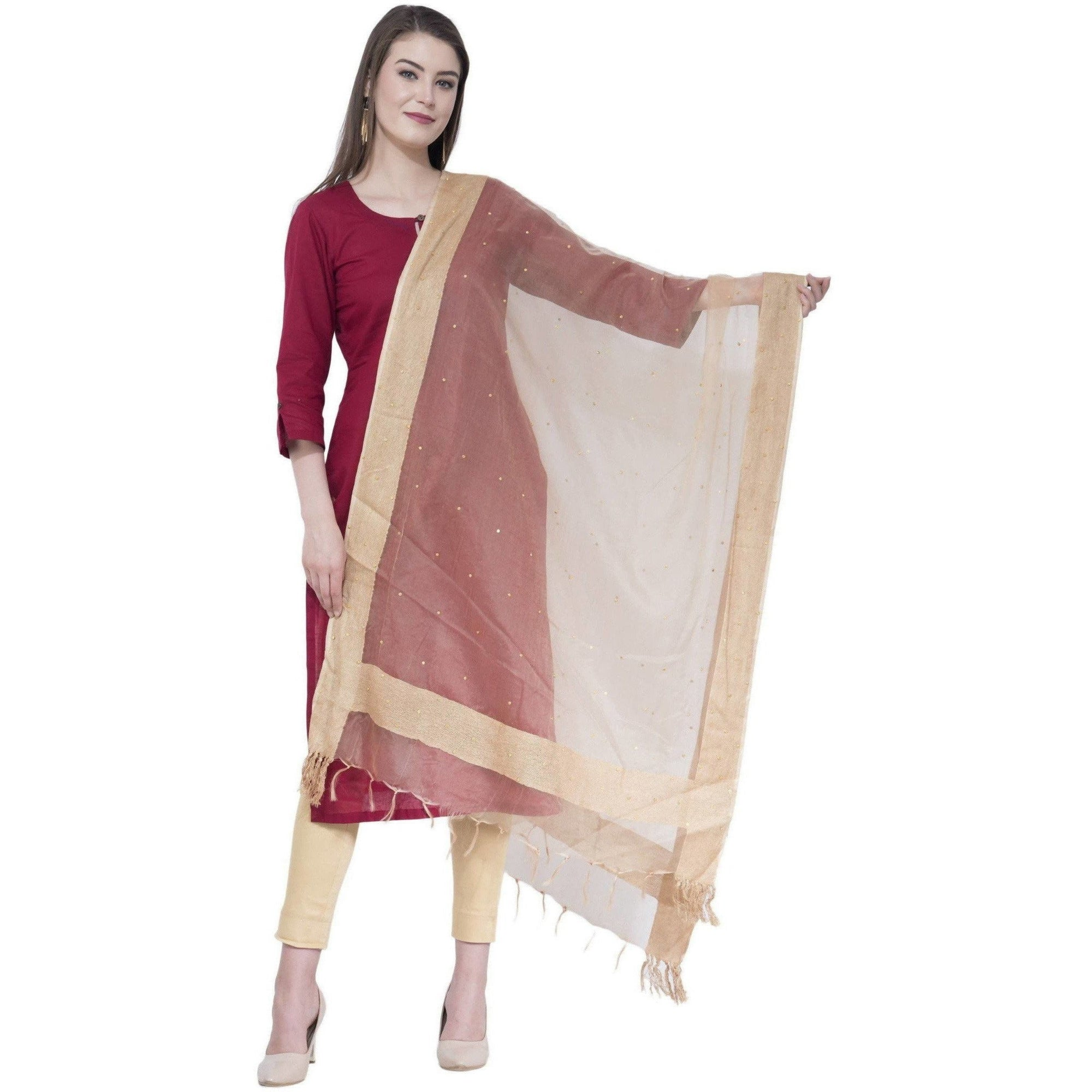 A R Silk Women's Stone Work Orgenza Cotton Golden Dupattas and Chunnis