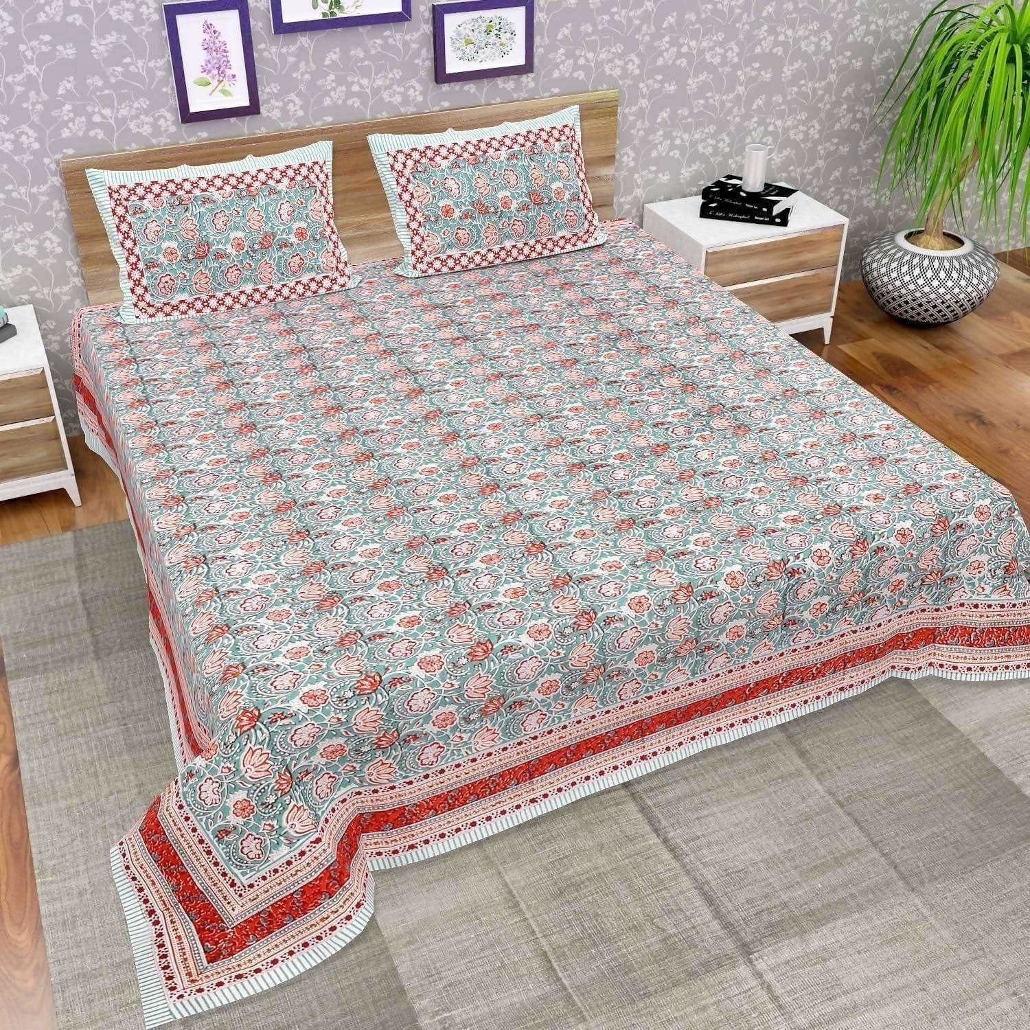 Hand Printed Jaipuri Double/Queen 230x270 Cms Bedsheet with 2 Pillow Covers