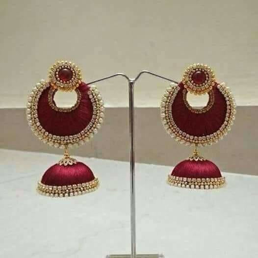 Pink Color with Jhumki Beads Earrings