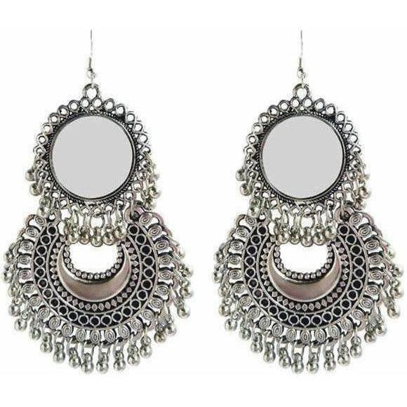 Sun Design Mirror Moon Style Hanging Earrings For Parties