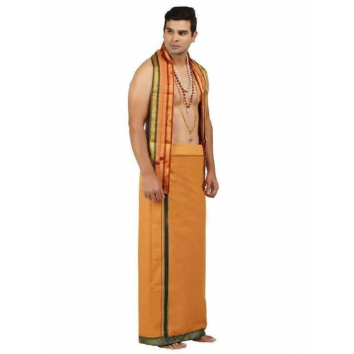 Ramraj- Brindle Kavi Dhoti and Towel Set