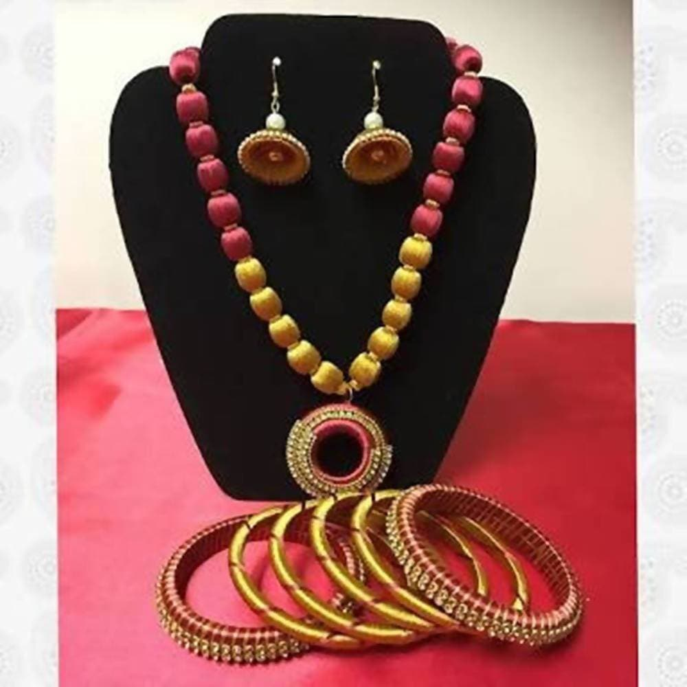Yellow And Pink Silk Threaded Designer Necklace Set , Earrings And Bangles