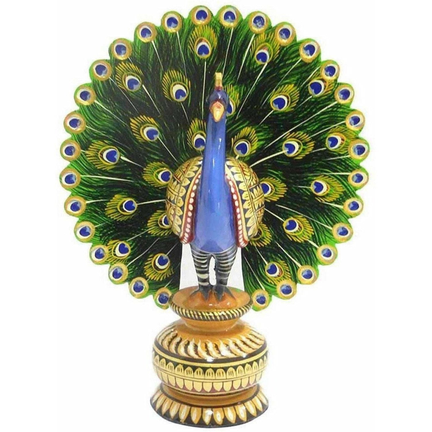 Decorative Wooden Dancing Colorful Peacock