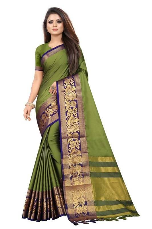 Vamika Banarasi Cotton Silk Weaving Green Saree (DOCTOR MOR GREEN)