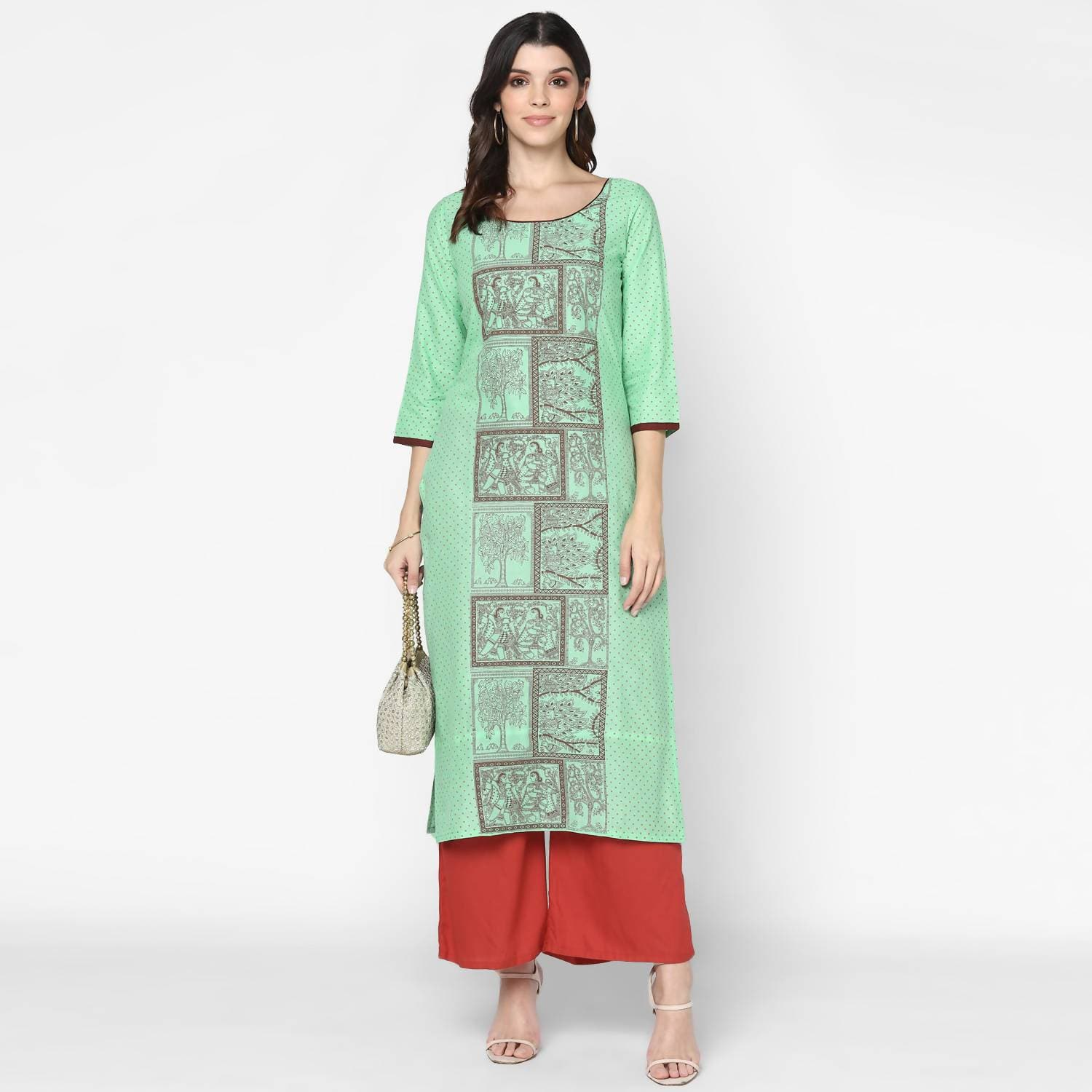 Cheera Hand Block Print Light Green & Maroon Straight Kurta With Palazzo (MAAI-090K)