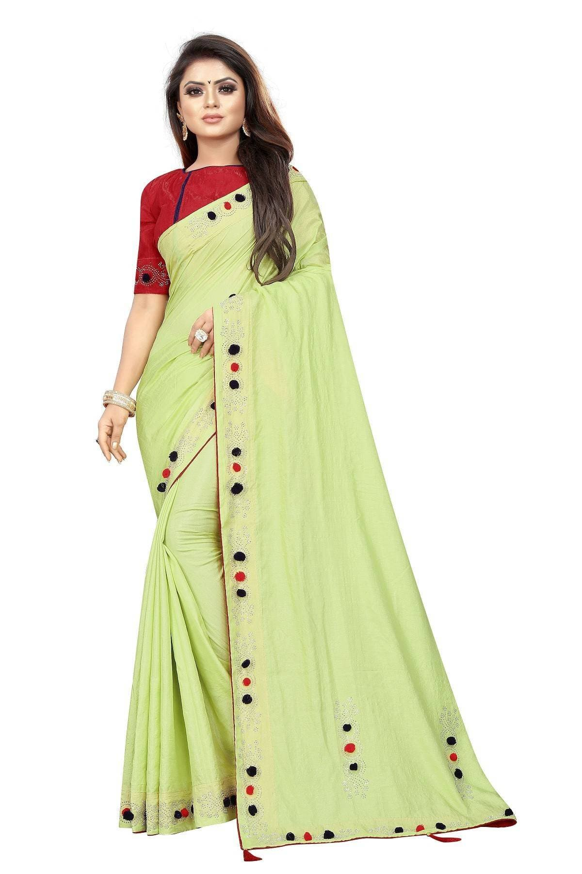 Vamika light green Sana Silk Diamond and Pom Pom Saree