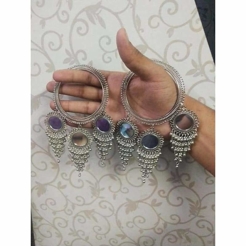 Silver Pearls With Mirrors Silver Latkan Bangles