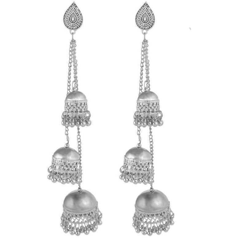Silver Color Oxidized Traditional Wear Hanging Three Jhumkas Earrings
