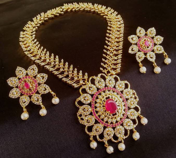 AD Ruby Bridal Traditional Necklace Set