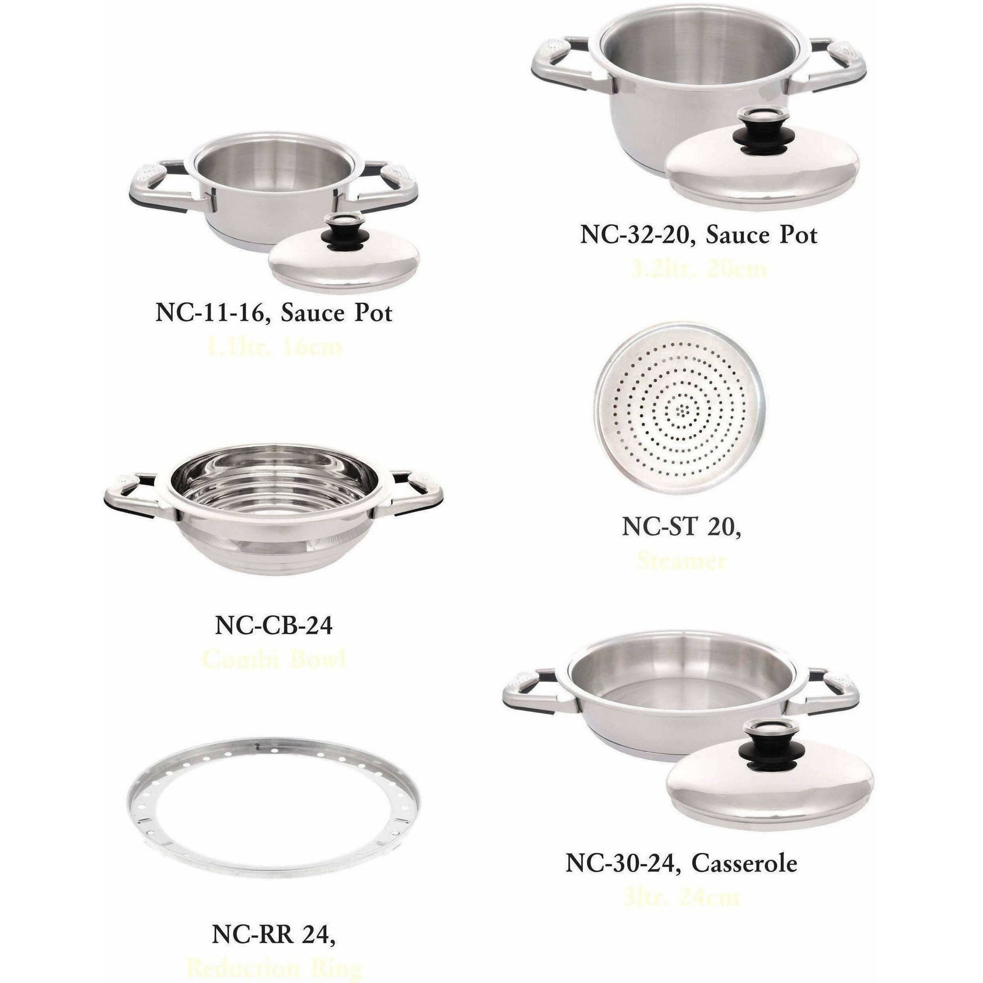 Nutricook High grade Stainless Steel 316L Sauce Pot (3.2 Ltr & 1.1 Ltr) with Casserole (3 Ltr) & Combi Bowl