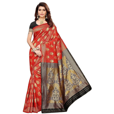 Vamika Banarasi Jaquard Red Weaving Saree (BANARASI 05)